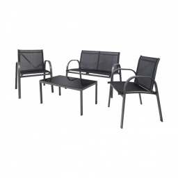 Set de Living Exterior en Hierro  y Textilina - Negro 232701